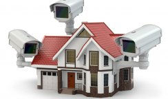 Security CCTV camera on the house. 3d